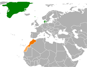 Map indicating locations of Denmark and Morocco
