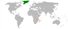 Map indicating locations of Denmark and Mozambique