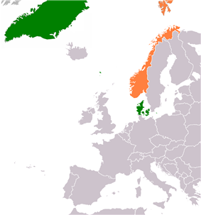 Map indicating locations of Denmark and Norway