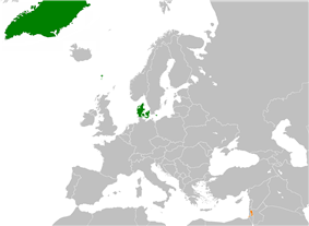 Map indicating locations of Denmark and Palestine
