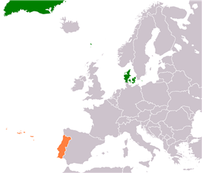 Map indicating locations of Denmark and Portugal