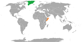 Map indicating locations of Denmark and Somalia