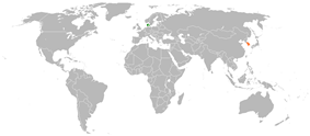 Map indicating locations of Denmark and South Korea