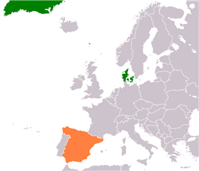 Map indicating locations of Denmark and Spain