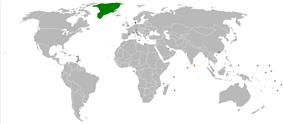 Map indicating locations of Denmark and Sri Lanka