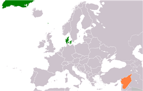 Map indicating locations of Denmark and Syria