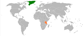 Map indicating locations of Denmark and Tanzania