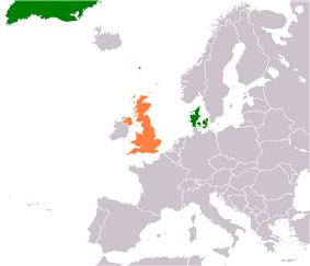 Map indicating locations of Denmark and United Kingdom