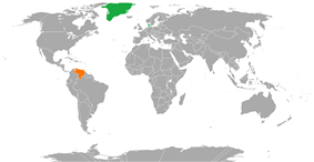 Map indicating locations of Denmark and Venezuela