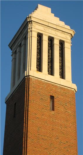 Top of the Denny Chimes bell tower.