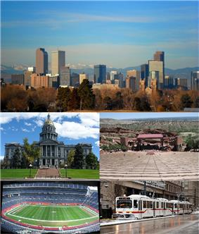 Top to Bottom, Left to Right: Denver Skyline, Colorado State Capitol, Red Rocks Amphitheatre, Sports Authority Field at Mile High, RTD Light Rail train Downtown.