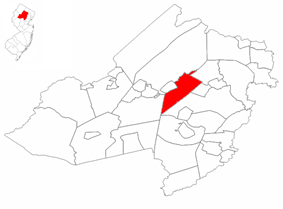 Denville Township highlighted in Morris County. Inset map: Morris County highlighted in the State of New Jersey.