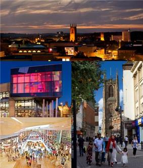 Derby Skyline and landmarks, clockwise from top left: Derby Quad, Derby Cathedral, Westfield Derby.