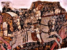 A knight riding a horse and taking a lance