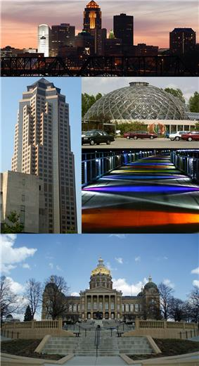 Clockwise from top: Skyline, Greater Des Moines Botanical Garden, Kruidenier Trail bridge, and the Iowa State Capitol, 801 Grand (Principal Financial Group)