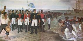 Portrait of Chilean troops landing in Peru