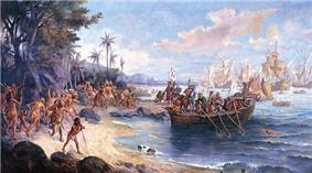 A painting depicting a boat containing armored men being rowed from ships on the horizon onto a shoreline crowded with people in loincloths, while in the background a native kneels before a small group of European men with a large white banner bearing a black cross