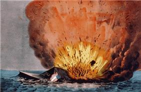 Print: Destruction of the rebel vessel