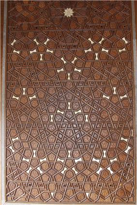 Detail of woodwork in a door at Süleymaniye Mosque.jpg