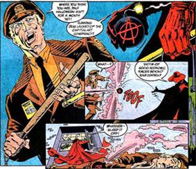 Comic panels showing events described in the caption.
