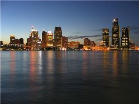 Downtown Detroit's skyline, as seen from Windsor, Canada in June 2004.