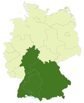 Map of the area of the Regionalliga Süd