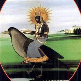 A dark woman with a halo, wearing dark clothes and gold ornaments sits on a crow and holding a winnowing basket.