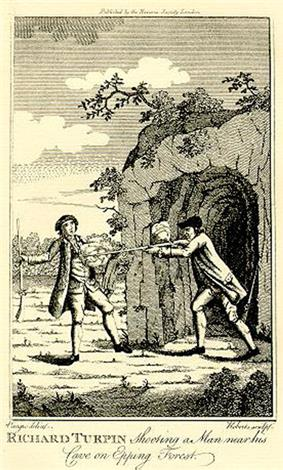 An engraving of two men. On the right, a man stands at the entrance of a cave, pointing a long firearm at the chest of the other man. The gun has just been fired. The other man, who is also carrying a similar weapon has a shocked expression on his face.