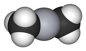 Spacefill model of dimethylmercury