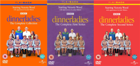 Three adjacent DVD covers: orange, purple and red respectively, each bearing the word
