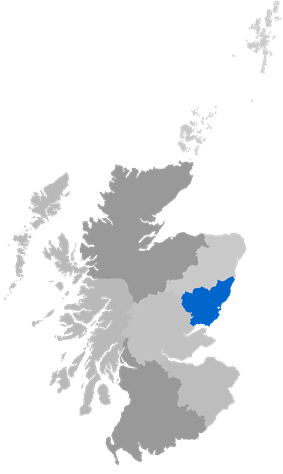 Map showing Brechin Diocese as a coloured area south of Aberdeen