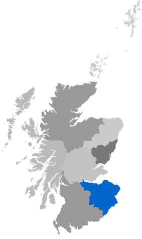 Map showing Edinburgh Diocese as a coloured area around the Lothians and the Borders