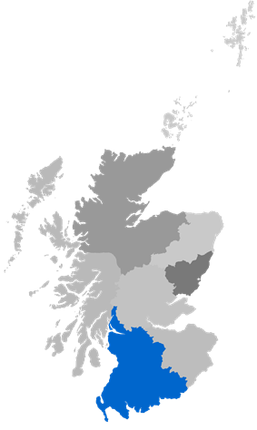 Map showing Glasgow Diocese as a coloured area around south-west Scotland