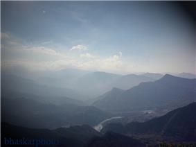 Seti River valley with Dipayal (left side) - Nepal