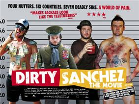 The members of Dirty Sanchez presented as if in a police line up.