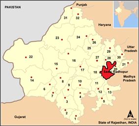 Location of 19. Sawai Madhopur district in Rajasthan
