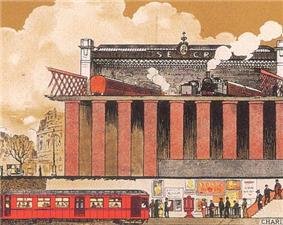 This crop of a poster shows an underground electric train below a railway terminus with carriages and steam locomotives.