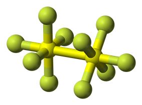 Ball-and-stick model of disulfur decafluoride