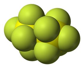 Space-filling model of disulfur decafluoride