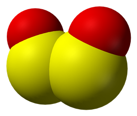 space-filling model of the disulfur dioxide molecule