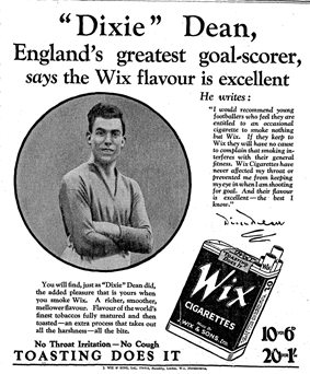 Dean. arms folded, in 1928 Wix Cigarettes newspaper advertisement