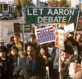 Aaron Dixon and supporters protesting exclusion from KING-5 debates
