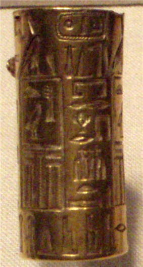 Gold cylinder seal bearing the names and titles of the pharaoh Djedkare Isesi.