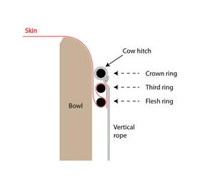 Schematic of three-ring skin mounting