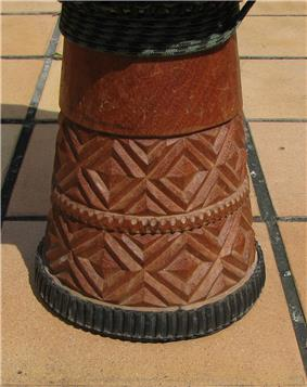 Timing belt decoration on the foot of a djembe (purchased in Conakry in 2001)