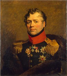 Portrait of Dmitry Golitsyn in dark green military uniform
