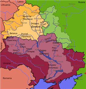 Map of the drainage basin of the Dnieper