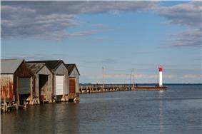 Lighthouse and docks in Port Rowan.