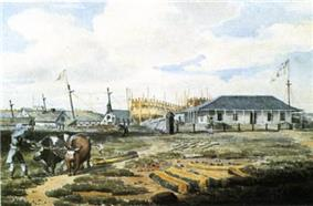 Naval shipyard, Point Frederick, July 1815. Watercolour by Emeric Essex Vidal. Commodore's house and two ships under construction, the Canada and the Wolfe, can be seen in the background