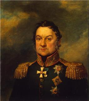 Portrait of Dokhturov in dark green Russian general's uniform